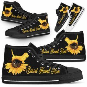 HTS-W-Dog-DogMomSunflowerTop-Basset_Hound-1@ Dog Mom Sunflower Top Basset Hound 1-Basset Hound Mom High Top Shoes Gift For Men Women. Sunflower Dog Lovers Dog Mom Custom Shoes.