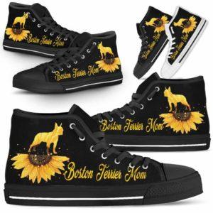 HTS-W-Dog-DogMomSunflowerTop-Boston_Terrier-3@ Dog Mom Sunflower Top Boston Terrier 3-Boston Terrier Mom High Top Shoes Gift For Men Women. Sunflower Dog Lovers Dog Mom Custom Shoes.