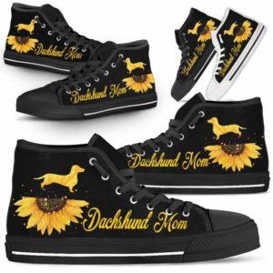 HTS-W-Dog-DogMomSunflowerTop-Dachshund-9@ Dog Mom Sunflower Top Dachshund 9-Dachshund Mom High Top Shoes Gift For Men Women. Sunflower Dog Lovers Dog Mom Custom Shoes.