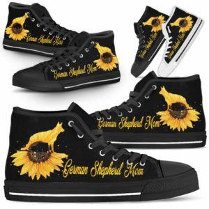 HTS-W-Dog-DogMomSunflowerTop-German_Shepherd-12@ Dog Mom Sunflower Top German Shepherd 12-German Shepherd Mom High Top Shoes Gift For Men Women. Sunflower Dog Lovers Dog Mom Custom Shoes.
