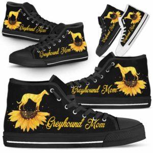 HTS-W-Dog-DogMomSunflowerTop-Greyhound-13@ Dog Mom Sunflower Top Greyhound 13-Greyhound Mom High Top Shoes Gift For Men Women. Sunflower Dog Lovers Dog Mom Custom Shoes.