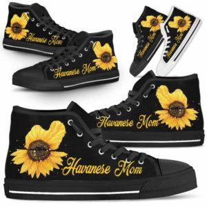 HTS-W-Dog-DogMomSunflowerTop-Havanese-14@ Dog Mom Sunflower Top Havanese 14-Havanese Mom High Top Shoes Gift For Men Women. Sunflower Dog Lovers Dog Mom Custom Shoes.