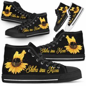 HTS-W-Dog-DogMomSunflowerTop-Shiba_inu-22@ Dog Mom Sunflower Top Shiba inu 22-Shiba Inu Mom High Top Shoes Gift For Men Women. Sunflower Dog Lovers Dog Mom Custom Shoes.