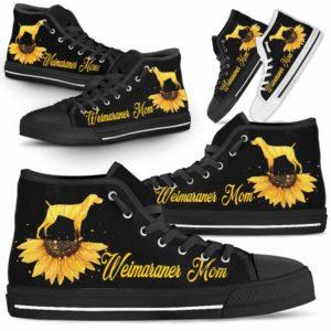 HTS-W-Dog-DogMomSunflowerTop-Weimaraner-23@ Dog Mom Sunflower Top Weimaraner 23-Weimaraner Mom High Top Shoes Gift For Men Women. Sunflower Dog Lovers Dog Mom Custom Shoes.