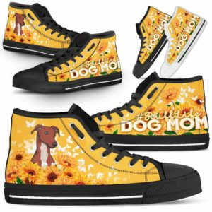 HTS-W-Dog-DogMomYellowBackground-Greyhound-31@ Dog Mom Yellow Background Greyhound 31-Greyhound Mom Dog Yellow Sunflower High Top Shoes Gift Women. Dog Mom Ruff Life Custom Shoes.
