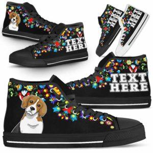 HTS-W-Dog-Embroidery12-Beagle-4@undefined-Beagle Dog Lovers Canvas Shoes Colorful Floral Flower High Top Shoes Gift Men Women. Dog Mom Dog Dad Custom Shoes.