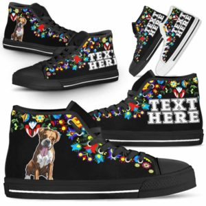 HTS-W-Dog-Embroidery12-Boxer-9@undefined-Boxer Dog Lovers Canvas Shoes Colorful Floral Flower High Top Shoes Gift Men Women. Dog Mom Dog Dad Custom Shoes.