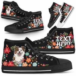 HTS-W-Dog-Embroidery7-Aussie-0@undefined-Aussie Colorful Flower Floral Dog Lovers Canvas Shoes High Top Shoes Gift Men Women. Dog Mom Dog Dad Custom Shoes. Australian Shepherd