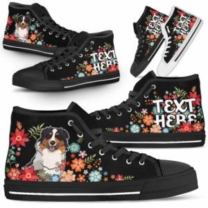 HTS-W-Dog-Embroidery7-Aussie-1@undefined-Aussie Colorful Flower Floral Dog Lovers Canvas Shoes High Top Shoes Gift Men Women. Dog Mom Dog Dad Custom Shoes. Australian Shepherd