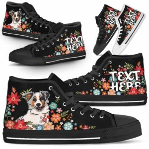 HTS-W-Dog-Embroidery7-Aussie-2@undefined-Aussie Colorful Flower Floral Dog Lovers Canvas Shoes High Top Shoes Gift Men Women. Dog Mom Dog Dad Custom Shoes. Australian Shepherd
