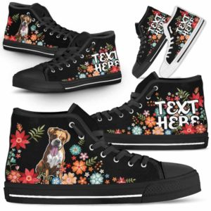 HTS-W-Dog-Embroidery7-Boxer-9@undefined-Boxer Colorful Flower Floral Dog Lovers Canvas Shoes High Top Shoes Gift Men Women. Dog Mom Dog Dad Custom Shoes.