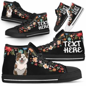 HTS-W-Dog-Embroidery8-Aussie-0@undefined-Aussie Colorful Floral Flower Dog Lovers Canvas Shoes High Top Shoes Gift Men Women. Dog Mom Dog Dad Custom Shoes. Australian Shepherd