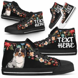 HTS-W-Dog-Embroidery8-Aussie-1@undefined-Aussie Colorful Floral Flower Dog Lovers Canvas Shoes High Top Shoes Gift Men Women. Dog Mom Dog Dad Custom Shoes. Australian Shepherd