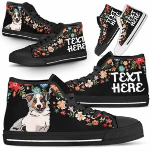 HTS-W-Dog-Embroidery8-Aussie-2@undefined-Aussie Colorful Floral Flower Dog Lovers Canvas Shoes High Top Shoes Gift Men Women. Dog Mom Dog Dad Custom Shoes. Australian Shepherd