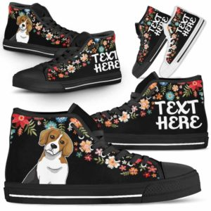 HTS-W-Dog-Embroidery8-Beagle-4@undefined-Beagle Colorful Floral Flower Dog Lovers Canvas Shoes High Top Shoes Gift Men Women. Dog Mom Dog Dad Custom Shoes.