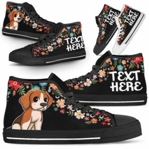 HTS-W-Dog-Embroidery8-Beagle-5@undefined-Beagle Colorful Floral Flower Dog Lovers Canvas Shoes High Top Shoes Gift Men Women. Dog Mom Dog Dad Custom Shoes.