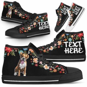 HTS-W-Dog-Embroidery8-Boxer-9@undefined-Boxer Colorful Floral Flower Dog Lovers Canvas Shoes High Top Shoes Gift Men Women. Dog Mom Dog Dad Custom Shoes.