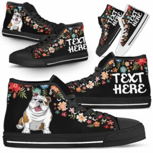 HTS-W-Dog-Embroidery8-Bulldog-12@undefined-Bulldog Colorful Floral Flower Dog Lovers Canvas Shoes High Top Shoes Gift Men Women. Dog Mom Dog Dad Custom Shoes.