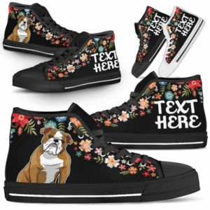 HTS-W-Dog-Embroidery8-Bulldog-13@undefined-Bulldog Colorful Floral Flower Dog Lovers Canvas Shoes High Top Shoes Gift Men Women. Dog Mom Dog Dad Custom Shoes.