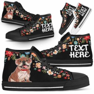 HTS-W-Dog-Embroidery8-Bulldog-14@undefined-Bulldog Colorful Floral Flower Dog Lovers Canvas Shoes High Top Shoes Gift Men Women. Dog Mom Dog Dad Custom Shoes.
