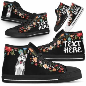 HTS-W-Dog-Embroidery8-Husky-36@undefined-Husky Colorful Floral Flower Dog Lovers Canvas Shoes High Top Shoes Gift Men Women. Dog Mom Dog Dad Custom Shoes.