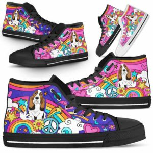 HTS-W-Dog-PastelHippie-Basset_Hound-3@ Pastel Hippie Basset Hound 3-Basset Hound High Top Shoes Gift For Women Dog Lovers Owners Dog Mom. Pastel Hippie Custom Shoes.