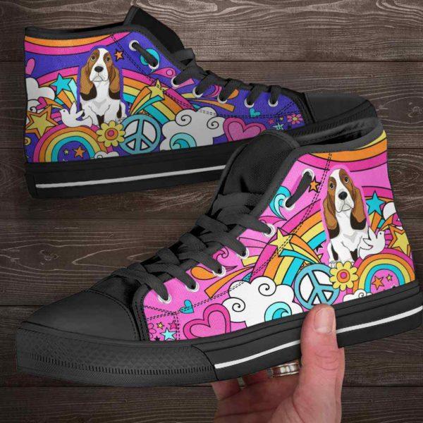 HTS-W-Dog-PastelHippie-Basset_Hound-3@ Pastel Hippie Basset Hound 3-Basset Hound High Top Shoes Gift For Women Dog Lovers Owners Dog Mom. Pastel Hippie Custom Shoes.