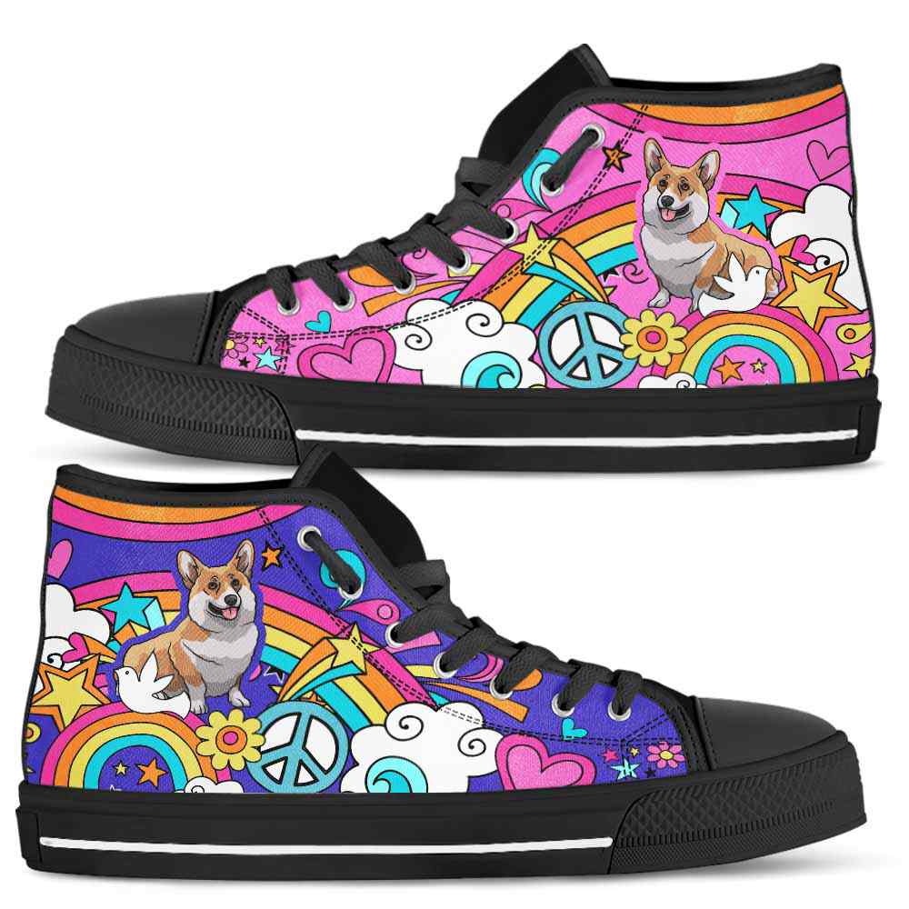 HTS-W-Dog-PastelHippie-Corgi-18@ Pastel Hippie Corgi 18-Corgi High Top Shoes Gift For Women Dog Lovers Owners Dog Mom. Pastel Hippie Custom Shoes.