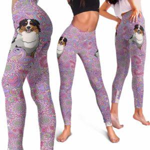 LEGG-W-Dog-PastelMandalaBG-Aussie-1-Aussie Dog Lovers Pastel Mandala Yoga Gym Workout Women Leggings. Dog Mom Dog Dad Dog Owner Gift Custom Leggings. Australian Shepherd