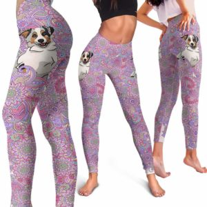 LEGG-W-Dog-PastelMandalaBG-Aussie-2-Aussie Dog Lovers Pastel Mandala Yoga Gym Workout Women Leggings. Dog Mom Dog Dad Dog Owner Gift Custom Leggings. Australian Shepherd