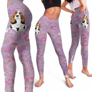 LEGG-W-Dog-PastelMandalaBG-BsHo-3-Basset Hound Dog Lovers Pastel Mandala Yoga Gym Workout Women Leggings. Dog Mom Dog Dad Dog Owner Gift Custom Leggings.