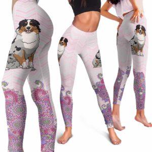 LEGG-W-Dog-PastelMandalaBot-Aussie-1-Aussie Dog Lovers Mandala Pastel Yoga Gym Workout Women Leggings. Dog Mom Dog Dad Dog Owner Gift Custom Leggings. Australian Shepherd