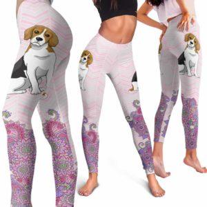 LEGG-W-Dog-PastelMandalaBot-Beagle-4-Beagle Dog Lovers Mandala Pastel Yoga Gym Workout Women Leggings. Dog Mom Dog Dad Dog Owner Gift Custom Leggings.