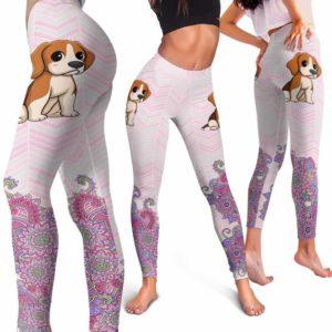 LEGG-W-Dog-PastelMandalaBot-Beagle-5-Beagle Dog Lovers Mandala Pastel Yoga Gym Workout Women Leggings. Dog Mom Dog Dad Dog Owner Gift Custom Leggings.