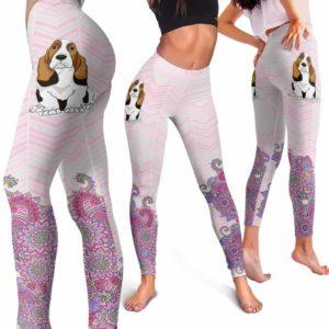 LEGG-W-Dog-PastelMandalaBot-BsHo-3-Basset Hound Dog Lovers Mandala Pastel Yoga Gym Workout Women Leggings. Dog Mom Dog Dad Dog Owner Gift Custom Leggings.