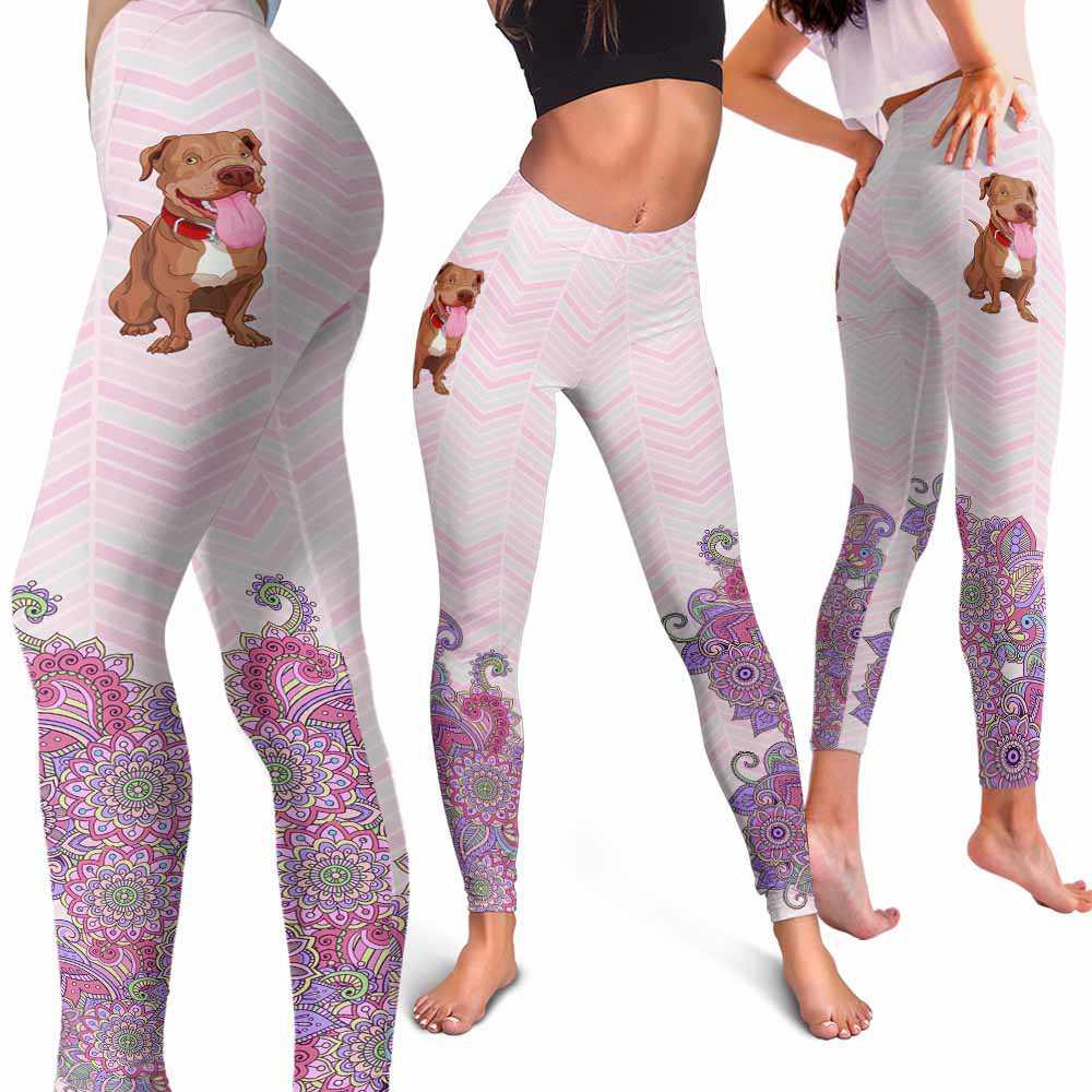 LEGG-W-Dog-PastelMandalaBot-PBul-43-Pit Bull Dog Lovers Mandala Pastel Yoga Gym Workout Women Leggings. Dog Mom Dog Dad Dog Owner Gift Custom Leggings.