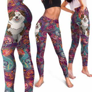 LEGG-W-Dog-RedMandala-Aussie-0-Aussie Dog Lovers Mandala Red Yoga Gym Workout Women Leggings. Dog Mom Dog Dad Dog Owner Gift Custom Leggings. Australian Shepherd