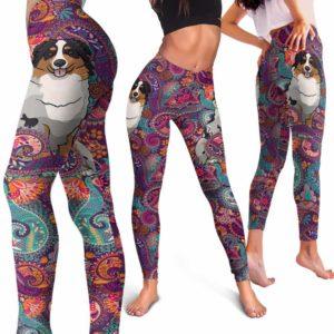 LEGG-W-Dog-RedMandala-Aussie-1-Aussie Dog Lovers Mandala Red Yoga Gym Workout Women Leggings. Dog Mom Dog Dad Dog Owner Gift Custom Leggings. Australian Shepherd