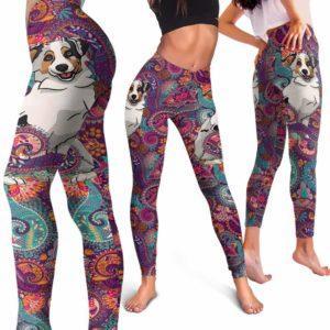 LEGG-W-Dog-RedMandala-Aussie-2-Aussie Dog Lovers Mandala Red Yoga Gym Workout Women Leggings. Dog Mom Dog Dad Dog Owner Gift Custom Leggings. Australian Shepherd