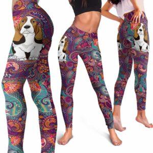 LEGG-W-Dog-RedMandala-BsHo-3-Basset Hound Dog Lovers Mandala Red Yoga Gym Workout Women Leggings. Dog Mom Dog Dad Dog Owner Gift Custom Leggings.