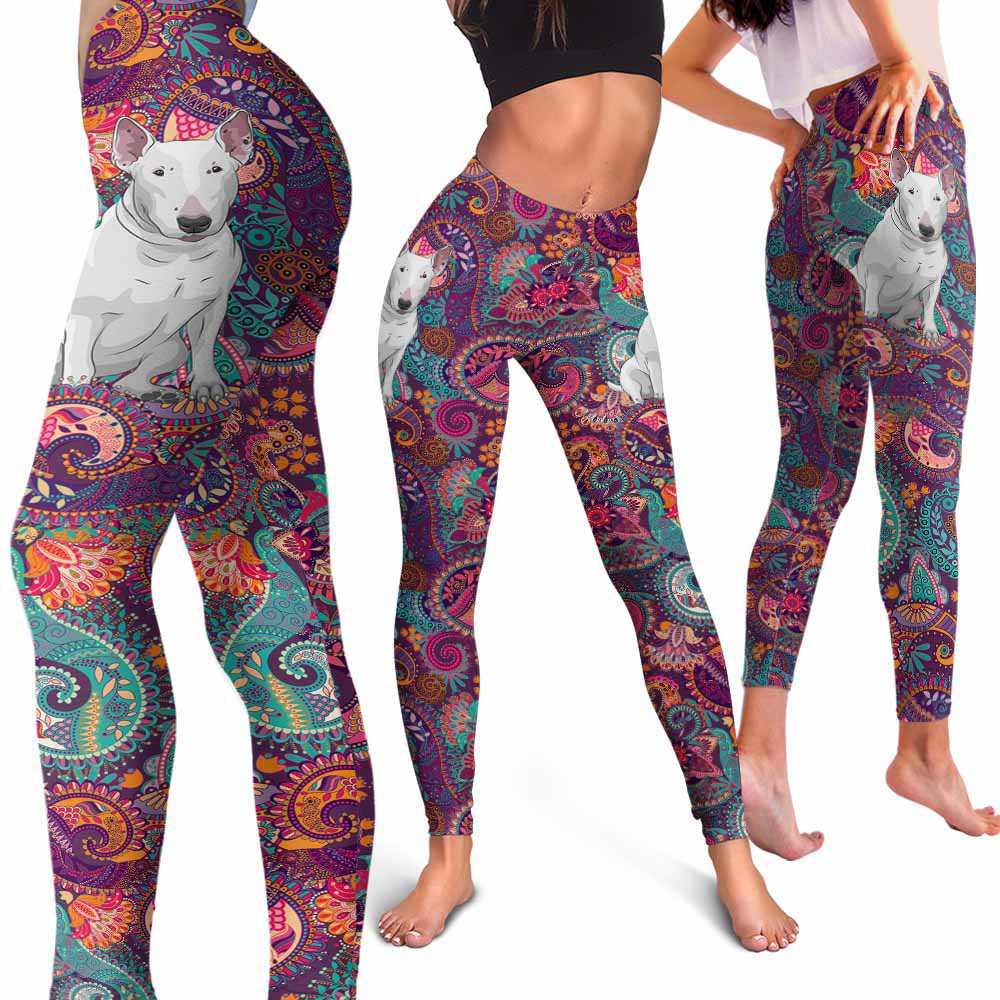 LEGG-W-Dog-RedMandala-BulTer-11-Bull Terrier Dog Lovers Mandala Red Yoga Gym Workout Women Leggings. Dog Mom Dog Dad Dog Owner Gift Custom Leggings.