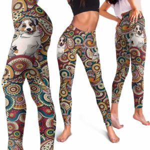 LEGG-W-Dog-RedMandalaBG-Aussie-2-Aussie Dog Lovers Colorful Mandala Yoga Gym Workout Women Leggings. Dog Mom Dog Dad Dog Owner Gift Custom Leggings. Australian Shepherd