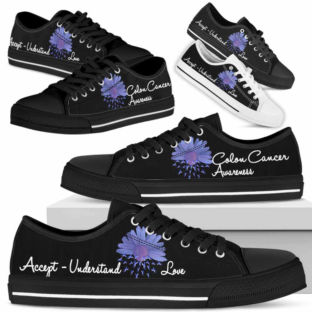 LTS-U-Awareness-AcceptUnderstandLove-Colon_Cancer-15@ Accept Understand Love Sunflower Colon Cancer 15-Colon Cancer Colorectal Cancer Awareness Ribbon Flower Low Top Shoes. Faith Hope Fighter Survivor Gift.