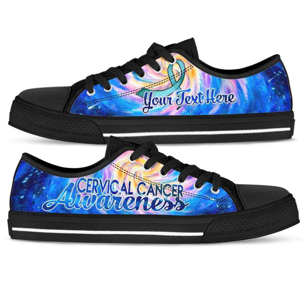 LTS-U-Awareness-GalaxyRibbon-CerCan-12-Cervical Cancer Awareness Ribbon Galaxy Tennis Shoes Gym Low Top Shoes. Faith Hope Love Fighter Survivor Gift.