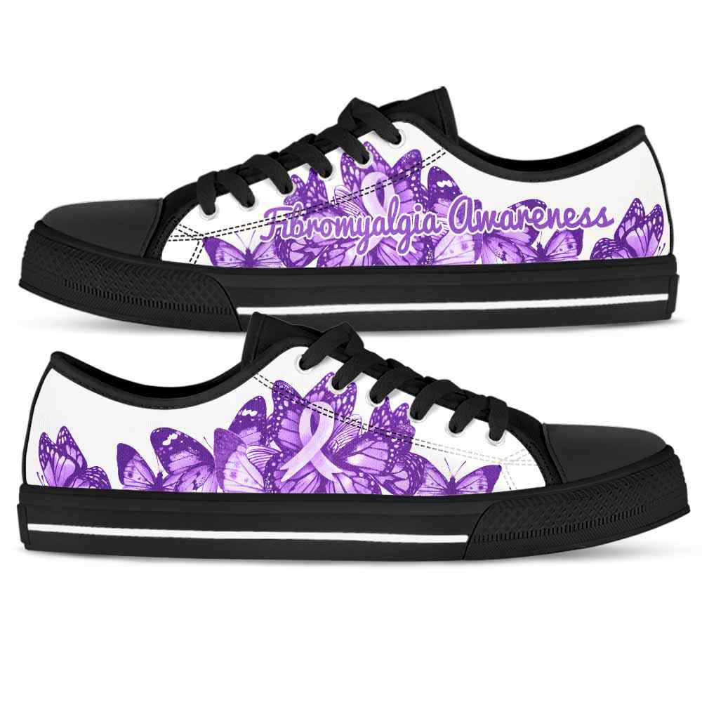 LTS-U-Awareness-SolidColorButterfly-Fibromyalgia-23@ Solid Color Butterfly Text Fibromyalgia 23-Fibromyalgia Awareness Ribbon Low Top Shoes Butterfly. Faith Hope Love Fighter Survivor Gift.