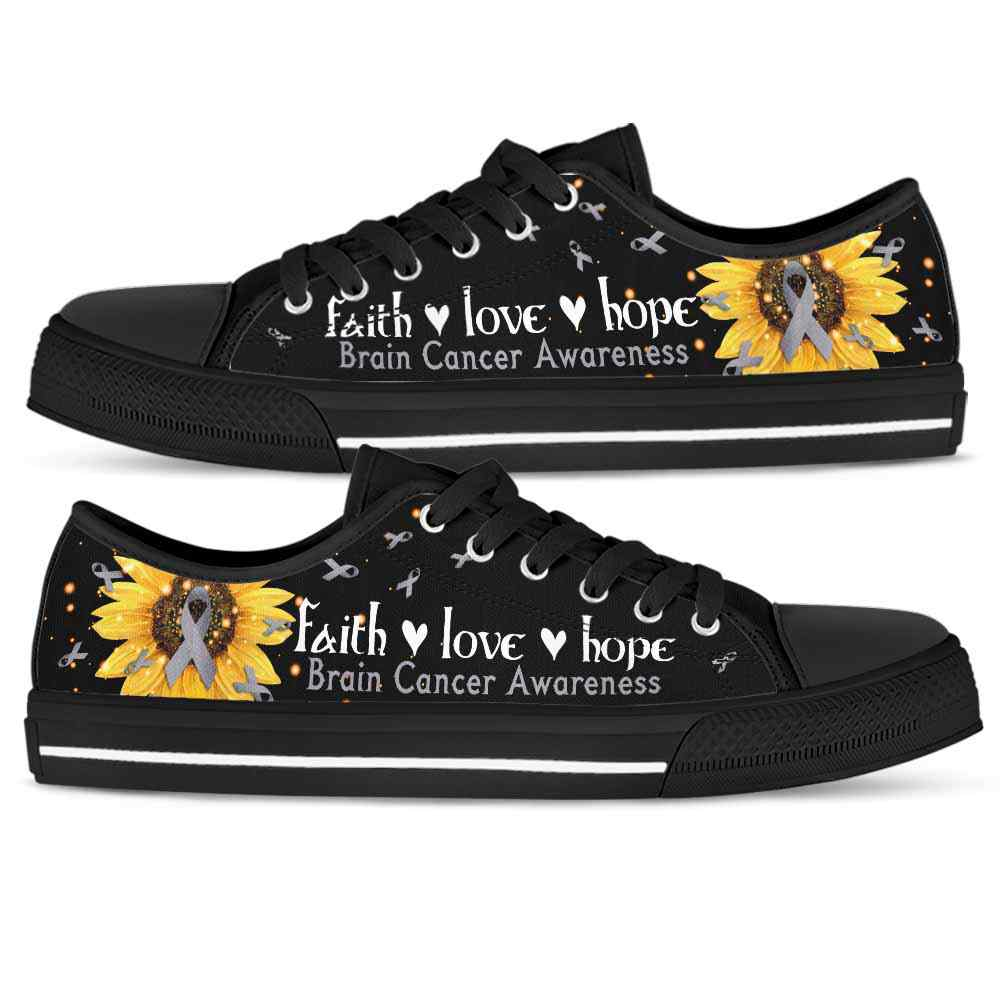 LTS-U-Awareness-SunflowerBlackBG-Brain_Cancer-8@ Sunflower Black BG Brain Cancer 8-Brain Cancer Brain Tum Awareness Ribbon Sunflower Low Top Shoes. Faith Hope Love Fighter Survivor Gift.