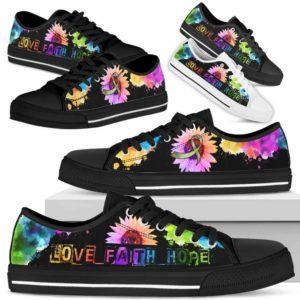 LTS-U-Awareness-WatercolorSunflowerLoveFaithHope-Autism-5-Autism Awareness Ribbon Watercolor Sunflower Tennis Shoes Gym Low Top Shoes. Faith Hope Love Fighter Survivor Gift.