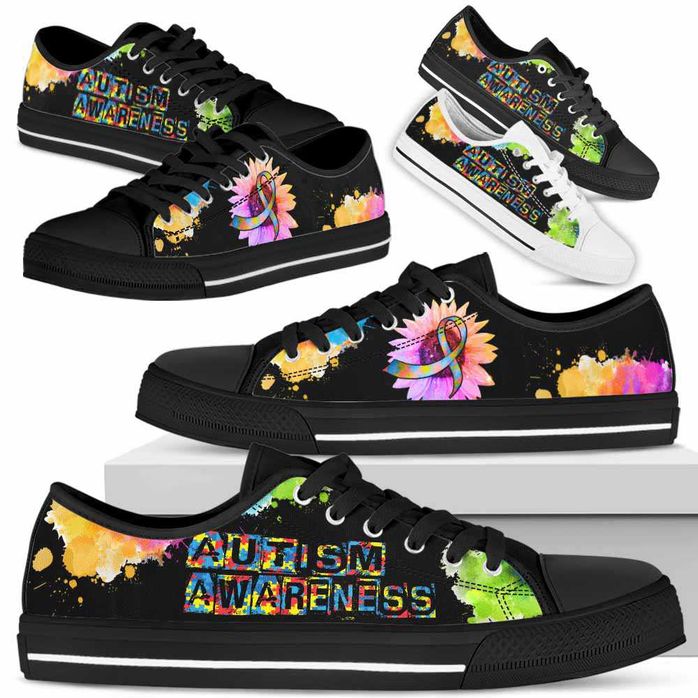 LTS-U-Awareness-WatercolorSunflowerRibbon-Autism-5@ Watercolor Sunflower Ribbon Autism 5-Autism Awareness Ribbon Low Top Shoes Watercolor Sunflower. Fighter Survivor Gift.