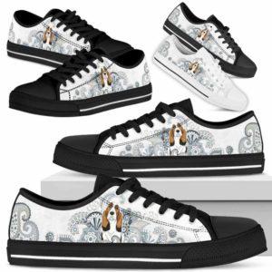 LTS-U-Dog-BlueMandala-Basset_Hound-3@ Blow Mandala Basset Hound 3-Basset Hound Dog Lovers Low Top Shoes Gift For Men Women Dog Owners. Mandala Flower Custom Shoes.