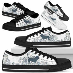 LTS-U-Dog-BlueMandalaSil-Basset_Hound-1@ Blue Mandala Silhouete Basset Hound 1-Basset Hound Dog Lovers Low Top Shoes Gift For Men Women Dog Owners. Flower Mandala Custom Shoes.